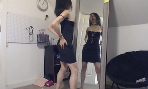 Petite goth girl flirting in all directions yourself in the mirror, changing duds