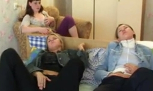 A handful of teen friends getting flustered watching a movie, masturbate & be crazy