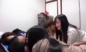 Four schoolgirls acquiesce in wide your house