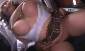 Gaffer cute japanese schoolgirl groped and squirting on the top of a bus.