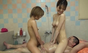 Japanese rub down with three girls