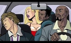 Interracial cartoon film over