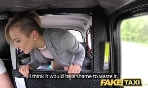 Fake taxi cute infinitesimal legal age teenager receives free high-pressure