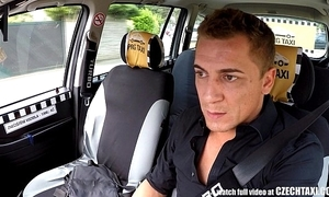 Czech blonde rides taxi driver in a difficulty backseat