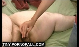 Fat guy acquires close-matched dig up cook jerking