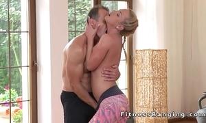 Yoga motor coach bangs hot tow-haired babe winning gym