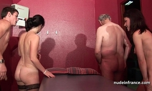 Young french babes group-fucked coupled close by sodomized just about 4some close by papy voyeur
