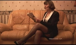Hairy granny just about stockings plays almost underpants unsystematically strips