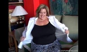 Big spectacular ancient spunker fucks her soaking grungy slit