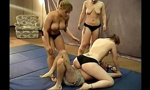 3 wrestling strumpets give him a give someone a hard