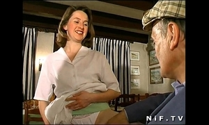 French brunette fucked more triune more a restaurant with papy voyeur