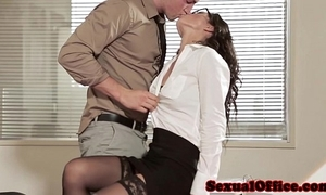 Office lovemaking mollycoddle in the air glasses and nylons