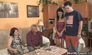 Innocent unladylike is seduced by her boyfriend's ma and screwed by old cur'