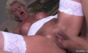 Granny screams while drilled lasting