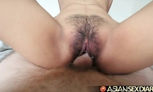 Asian coitus date-book - youthful filipina cutie gets the brush hairy pussy screwed