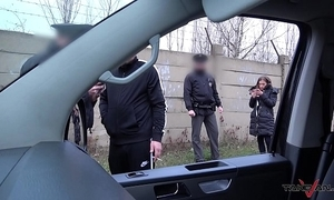Porn action in driving van interrupted hard by real the long arm of the law