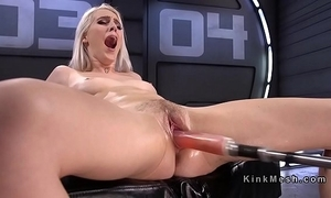 Natural blonde having it away machine coupled with squirting