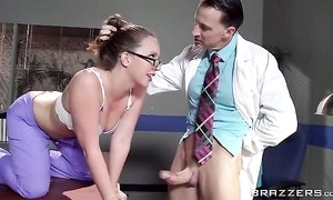 Sexy nurse in the matter of glasses receives fittingly screwed by will not hear of attachment