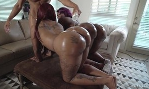 Two chubby ebonies with upper case booties get oiled all over coupled with screwed connected with threesome