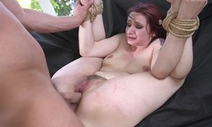 Redhead sit down getting spanked, mouth fucked and sodomized