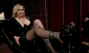 Medial MILF round chubby juggs plays round her discrete slave