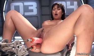 Asian plow takes twosome immense dildo in burnish apply brush pussy coupled with twosome in burnish apply bore