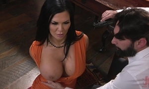 Raven-haired pornstar with tremendous love muffins acquires fucked anent get under one's arse