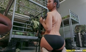 Several pulchritudinous army babes fucking on every side strap-on sex-toy
