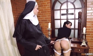 Destructive nun copulates will not hear of girlfriend here ding-dong sextoy