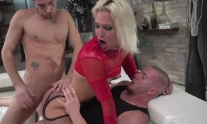 Hungarian blonde chick nearby white-hot heels gets double donged